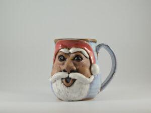 handmade santa claus mug from gatlinburg tn pottery studio